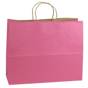 """Pink, Large Shadow Stripe Paper Shopping Bags, 16"""" x 6"""" x 13"""" (Vogue)"""