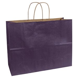 """Purple, Large Recycled Paper Shopping Bags, 16"""" x 6"""" x 13"""" (Vogue)"""