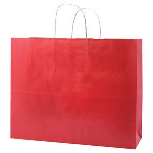"""Red, Large Shadow Stripe Paper Shopping Bags, 16"""" x 6"""" x 13"""" (Vogue)"""