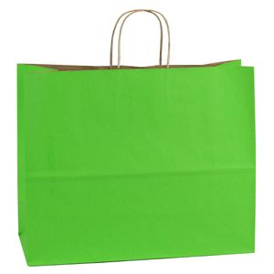 """Apple Green, Large Shadow Stripe Paper Shopping Bags, 16"""" x 6"""" x 13"""" (Vogue)"""