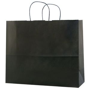 "Black, Large Shadow Stripe Paper Shopping Bags, 16"" x 6"" x 13"" (Vogue)"
