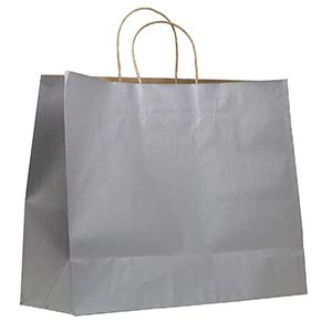 """Silver, Large Recycled Paper Shopping Bags, 16"""" x 6"""" x 13"""" (Vogue)"""