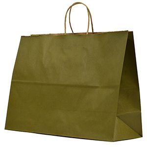 """Olive, Large Recycled Paper Shopping Bags, 16"""" x 6"""" x 13"""" (Vogue)"""