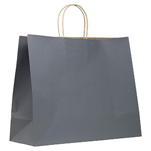 """Charcoal, Large Recycled Paper Shopping Bags, 16"""" x 6"""" x 13"""" (Vogue)"""