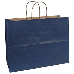 """Navy, Large Recycled Paper Shopping Bags, 16"""" x 6"""" x 13"""" (Vogue)"""