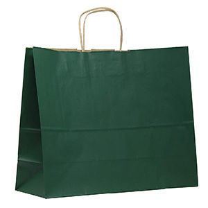 """Forest Green, Large Shadow Stripe Paper Shopping Bags, 16"""" x 6"""" x 13"""" (Vogue)"""