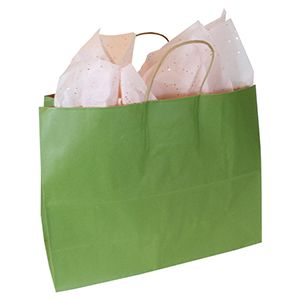"""Rainforest Green, Large Recycled Paper Shopping Bags, 16"""" x 6"""" x 13"""" (Vogue)"""