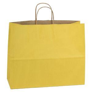 "Yellow, Large Shadow Stripe Paper Shopping Bags, 16"" x 6"" x 13"" (Vogue)"
