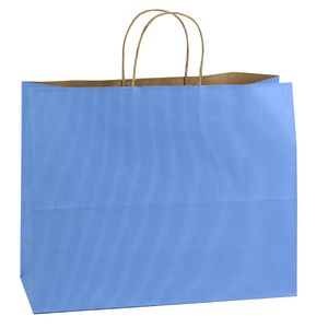 """French Country Blue, Large Shadow Stripe Paper Shopping Bags, 16"""" x 6"""" x 13"""" (Vogue)"""