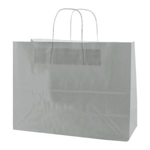 Silver, Large Gloss Paper Shoppers