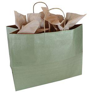 "Metallic Sage, Large Recycled Paper Shopping Bags, 16"" x 6"" x 13"" (Vogue)"