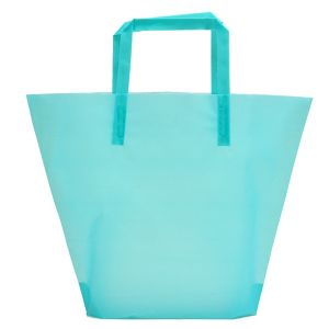 Aqua, Medium Frosted Trapezoid Shaped Bags