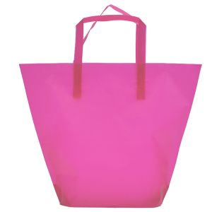 Hot Pink, Medium Frosted Trapezoid Shaped Bags