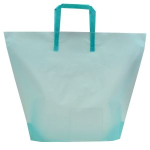 Aqua, Large Frosted Trapezoid Shaped Bags