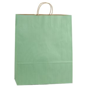"""Sage, Large Shadow Stripe Paper Shopping Bags, 16"""" x 6"""" x 19"""" (Queen)"""