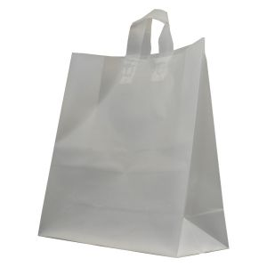 """Clear Frosted Shoppers with Loop Handles, 17"""" x 7"""" x 18"""" x 7"""""""