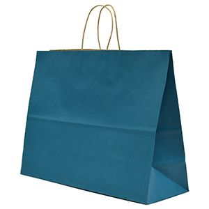 """Peacock Blue, Large Recycled Paper Shopping Bags, 16"""" x 6"""" x 13"""" (Vogue)"""