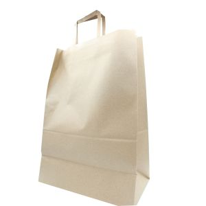 """Recycled Natural Kraft Paper Shopping Bags, 12"""" x 7"""" x 17"""" 1/6 barrel w/ flat handle"""