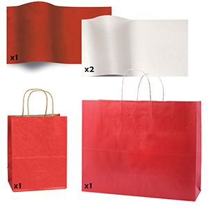Shadow Stripe Red Bags, Red & White Tissue Paper