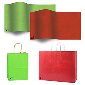 Red & Green Shadow Stripe Bags and Tissue Paper