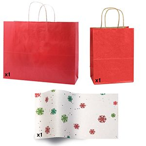 Red Shadow Stripe Bags and Printed Tissue Paper