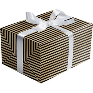 Graphic Gift Wrap, Black Gold Stripe Gold Foil, Embossed