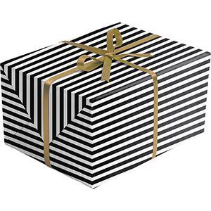 Graphic Gift Wrap, Black White Stripe Matte/Gloss, Embossed