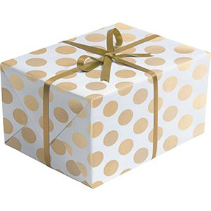 Double Sided Gift Wrap, Gold & Silver Dots