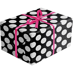 Double Sided Gift Wrap, Black & Silver