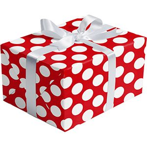 Double Sided Gift Wrap, Red Dot & Stripes