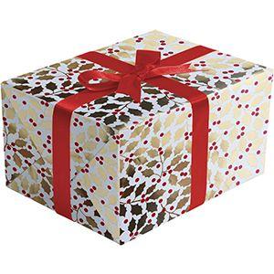 Elegant Holly, Mistletoe Gift Wrap