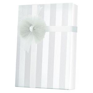 Valentine Gift Wrap, White on White Stripe