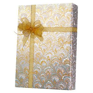 Valentine Gift Wrap, Gold & Silver Feathers