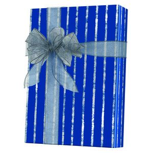 Masculine Gift Wrap, Bands of Silver/Navy Kraft