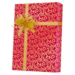 Valentine Gift Wrap, Scrolled Hearts