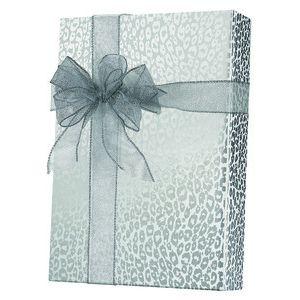 Feminine & Floral Gift Wrap, Silver Cheetah