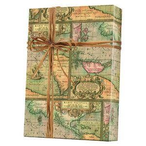 Masculine Gift Wrap, World Map Kraft