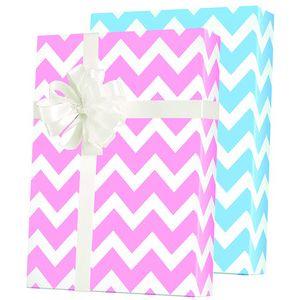 Baby Gift Wrap, Baby Chevron Reversible