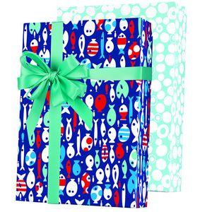Celebrate Gift Wrap, Gone Fishing Reversible