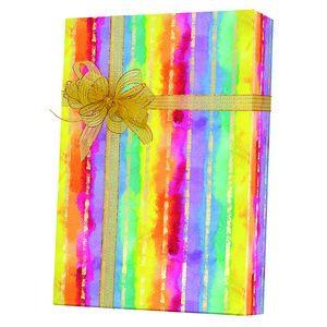 Feminine & Floral Gift Wrap, Rainbow Stripe