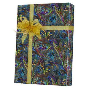 Masculine Gift Wrap, Marbled Feather