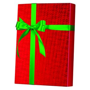Solids & Special Finishes, Gift Wrap, Red Spun Sheen Embossed Foil