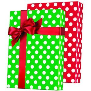 Merry Christmas Polka Dot Reversible, Double Sided Gift Wrap