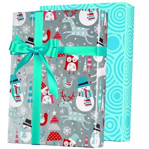Snowplay Reversible, Double Sided Gift Wrap