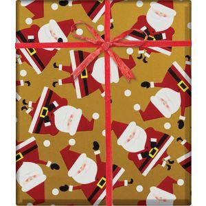 "Christmas Giftwrap, Dancing Santa Gold Collection, 10' x 30"""
