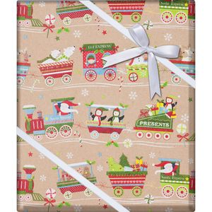 """Christmas Giftwrap, Christmas Train Collection, 10' x 30"""""""