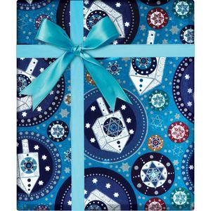 "Christmas Giftwrap, Traditional Hanukkah Collection, 10' x 30"""