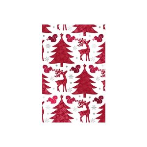 Red Deer and Trees, Holiday Animal Gift Wrap