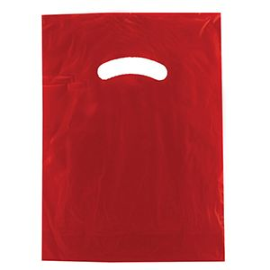 "Red, Gloss Christmas Plastic Merchandise Bags, 9"" x 12"""