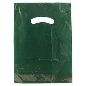 "Dark Green, Gloss Christmas Plastic Merchandise Bags, 9"" x 12"""